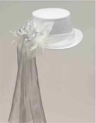 Deluxe White Ghostly Bride or Funeral Costume Top Hat With Rose and Veil