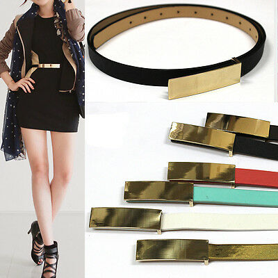 Classy Womens Skinny Gold Metal Mirror Waistband Leather STRETCH Plate Thin Belt