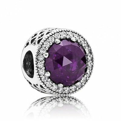 PANDORA Royal Purple Radiant Heart Charm 791725NRP Genuine Authentic