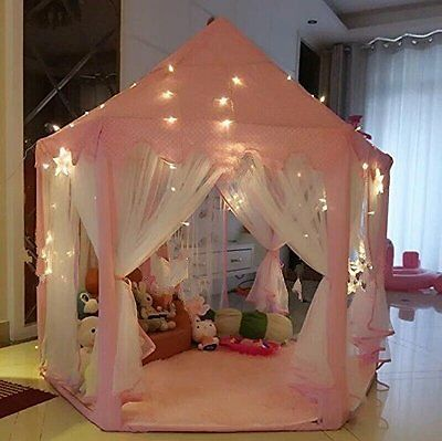 Kid's Indoor / Outdoor Princess Play Tent Castle LED Star Lights Playhouse NEW