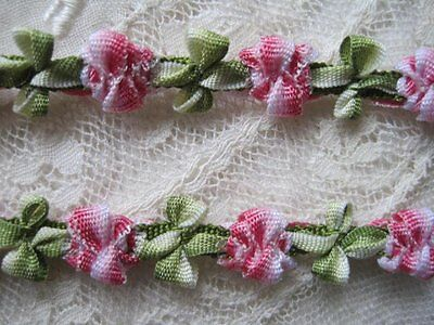 Vintage French Style Red / Pink & Green Tiny Flower Trim     1 Yard