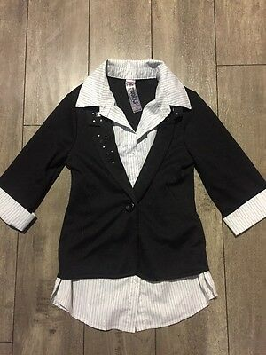 Girls White Stripped Button Up Shirt With Black Jacket Size S
