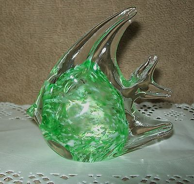 Small, Vintage Clear & Green Glass Fish Ornament