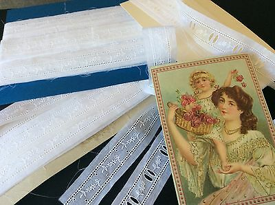Heirloom Lace - Fine Voile White Cotton Insertion Heirloom Sewing-Dolls - 14.7M