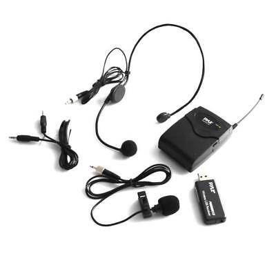 Pyle Belt Pack Microphone System w Wireless USB Receiver Headset Mic & Lavalier