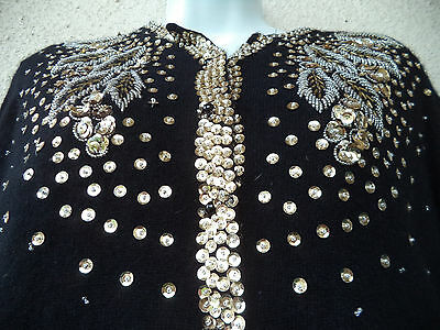 """Vintage 50s Black BEADED CARDIGAN SWEATER Gold Sequins Wool PinUp GLAM 42"""" Bust"""