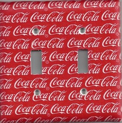 Red White Coke Coca Cola Double Rocker Light Switch Plate Bedroom Cover