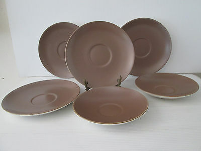 6 Poole Pottery Saucers Two Sizes Brown