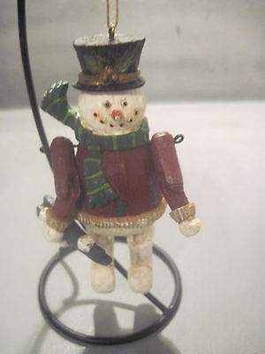 Resin Snowman Ornament With Hinged Arms And Legs