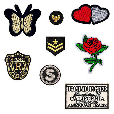 8pcs Patches Flower Embroidered Sew Iron On Badge Bag Applique Fabric Cloth DIY