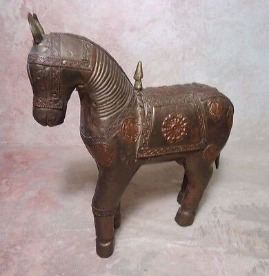 VINTAGE HAND CARVED HORSE CRAFTED EMBOSSED BRASS copper STATUE OF HORSE