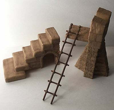 Retired Schleich Castle Ritterburg Replacement Wall, Stairs, and Ladder