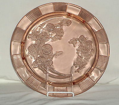 """Federal SHARON/CABBAGE ROSE PINK *11 1/2"""" FOOTED CAKE PLATE*"""