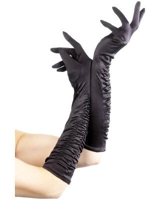 Adult Black Elbow Length Temptress Long Dress Gloves Costume Accessory