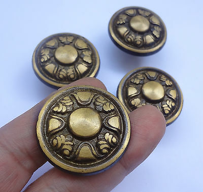 Lot 4 Vintage Brass Round Pull handles Knobs 1 3/8''  NOS Free Shipping