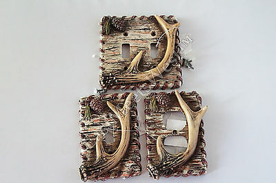 Rustic Deer Antler Switch Plate Electric Outlet Birch Wood Pine Cone Cabin Decor
