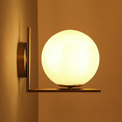 WHITE GLOBE GLASS Lampshade Indoor Wall Sconce Bedside Lamp Night ...