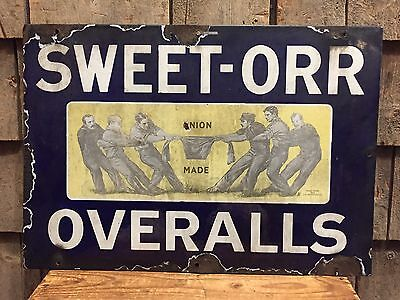 Rare 1920's SWEET ORR Overalls Union Made Blue Jeans Porcelain Advertising Sign