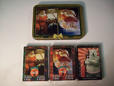 1997 COCA COLA PLAYING CARDS lot SEALED Polar Bear & SANTA CLAUS w/ TIN 3 decks