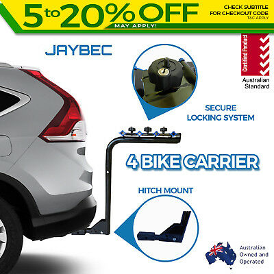"""4 Bicycle Car Bike Carrier Rack 2"""" Inch Hitch Mount Rear Lockable Jaybec New"""