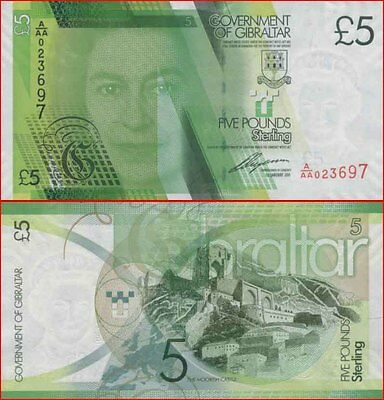 Gibraltar Mint QE2 First Prefix 5 Pound AAA 023630 Paper Banknote Issue p36