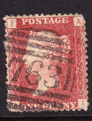 GB  1858 - QV - 1d Red Plate 132 - Position I-A