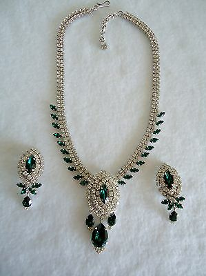 Austria Vintage Signed Rhinestone Necklace and Earrings