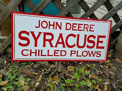Antique Vintage Old Style John Deere Syracuse Sign 30x17