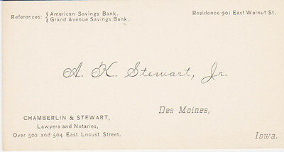 RARE 1800s BUSINESS CARD AK STEWART JR ATTORNEY LAWYER DES MOINES IOWA IA SCARCE