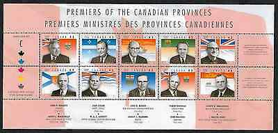 Canada — Full Pane of 10 — Provincial Premiers (Premiers Ministres) #1709 — MNH