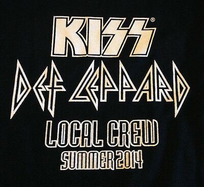KISS T Shirt XL CREW ONLY New Unused 2014 Gene Simmons Def Leppard