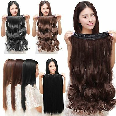 *100% Natural 3/4 Full Head Clip In Hair Extensions Curly Wavy Straight Hair*W