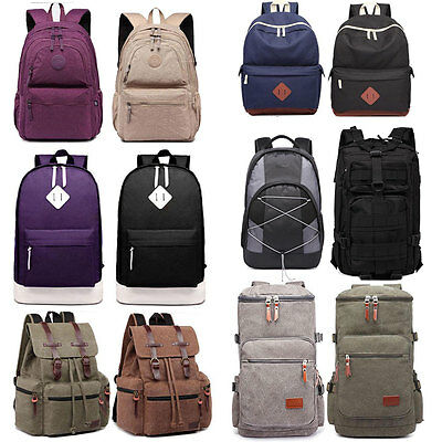 45L Canvas Backpack Outdoor  Hiking Travel Rucksack Laptop Large School Bag