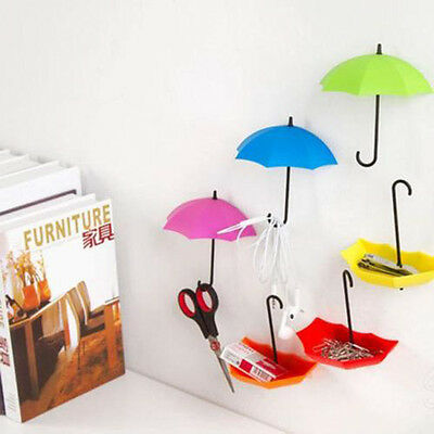 *3Pcs Colorful Umbrella Wall Hook Key Hair Pin Holder Organizer Decorative UG*W