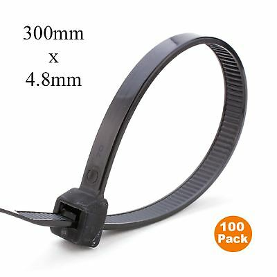 100 x Black Nylon Cable Ties 300mm x 4.8mm / Extra Strong Zip Tie Wraps