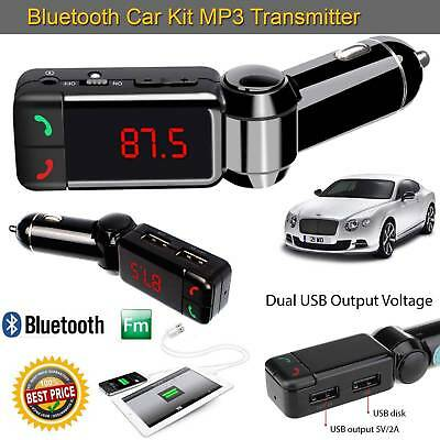 Wireless Bluetooth Car Kit FM MP3 Transmitter USB LCD Handsfree For Mobiles UK