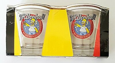 The Simpsons, Set of 2 Boxed Shot Glasses, Glass, Homer, Collectable Brand New