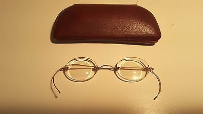 Antique Gold Filled Wire Spectacles & Case Marked 1/10 12Kgf