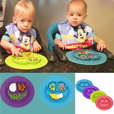 Silicone Smile Face Divided Plate Dish for Kids Toddler Divided Plates EA