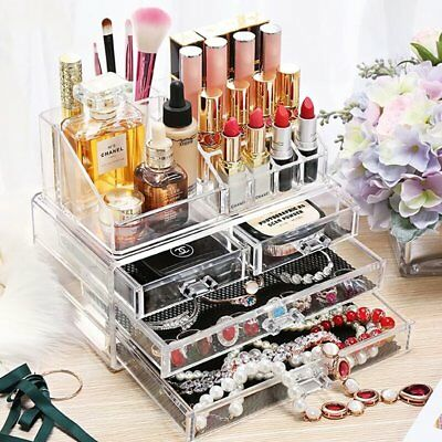Cosmetic Organizer Clear Acrylic Makeup 4Drawers Holder Case Box Jewelry Storage