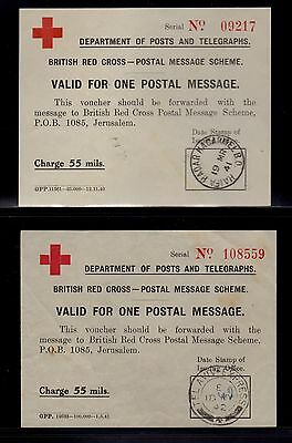 PALESTINE 1941-46 RED CROSS Reply Coupons IRC Complete Collection of all 5 Diff.