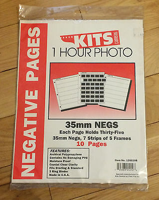 10 Pages of Storage for 35mm Negatives,ea Page Holds 7 Strips of 5 Frames-No PVC