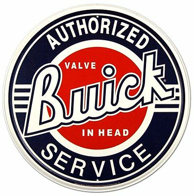 Buick Authorized Service Car Dealer Round Retro Vintage Tin Sign
