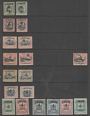 Labuan ,  4 Cent Overprint Selection Mh And Fu
