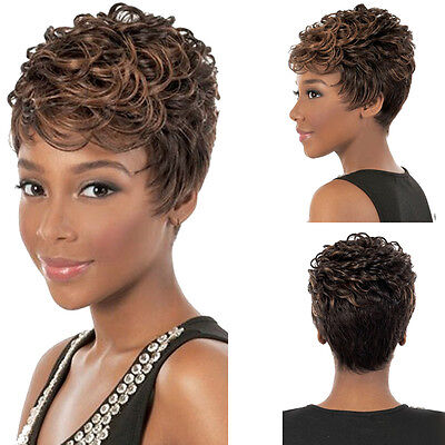 28CM New Fashion Sexy Short Natural Curl Full Wig Women Cosplay Wigs Styling plk