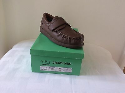 CROWN KING GEORGE TAN VELCRO LEATHER BOWLS SHOE Size UK 12 New in Box