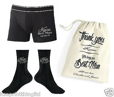 Personalised Premium Best Man Boxer Shorts, Socks Underwear Wedding Gift Bag Set