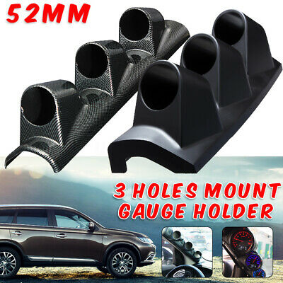 "Carbon 2"" 52mm LEFT HAND DRIVE Pod A Pillar Triple 3 Hole Mount Gauge Holder"