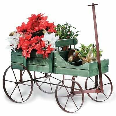 Amish Wagon Decorative Garden Planter Rustic Flower Wood Home Outdoor Green