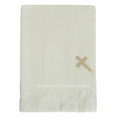 Baby Christening Shawl Blanket White With Silver Cross Baptism Wrap Boy Girl